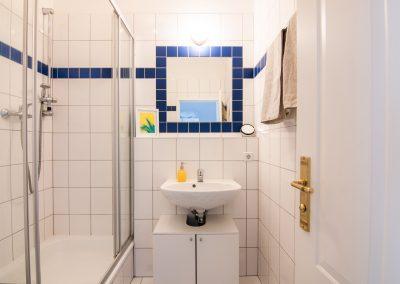 Badezimmer mit einer Dusche und Waschbecken